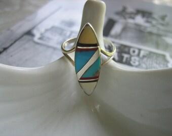 Vintage ZUNI MOSAIC .925 Sterling Silver Inlaid Ring