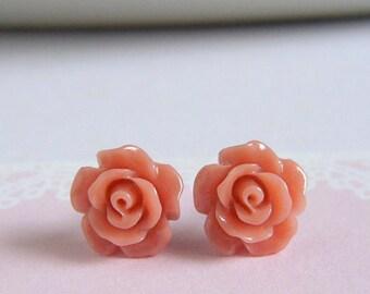 Dainty Rose Stud Earrings, Dark Peach, Flower Earrings, Floral Jewelry, Rose Garden