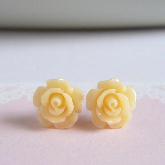 Dainty Rose Stud Earrings, Honey Flower Earrings, Floral Jewelry, Pastel Color Rose