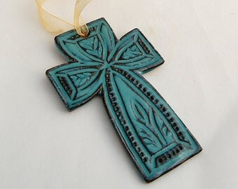 Turquoise Cross Ornament - Ceramic Stoneware Pottery