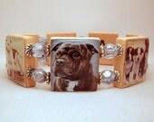 Staffordshire BULL TERRIER Bracelet / SCRABBLE Handmade Jewelry / Dog Lover Gift