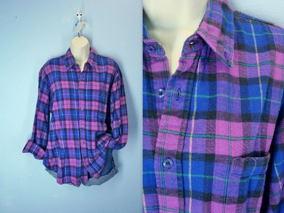 1980s Flannel Shirt / Vintage 80s Pink Plaid Flannel Shirt / xl - 1980s Flannel Shirt / Vintage 80s Pink Plaid Flannel Shirt /