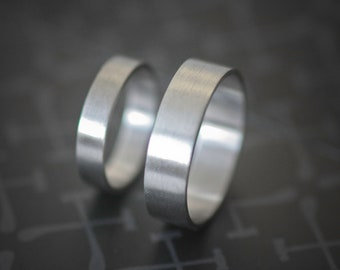 Palladium Wedding Bands 4mm & 7mm All Recycled Metal Hand Forged