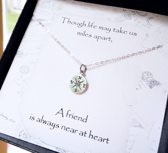 Friendship Quotes Jewelry: Compass Necklace Friendship Card Silver Compass By