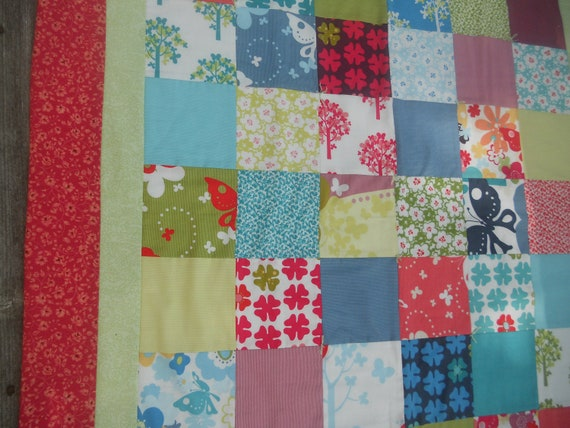 Baby girl red quilt blanket butterfly nursery lap quilt trees flowers