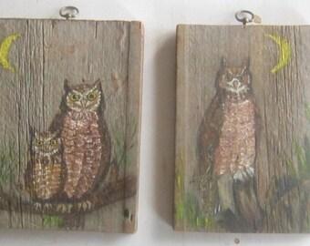 Vintage Pair Original Primitive Owl Paintings on Barn Wood Folk Art