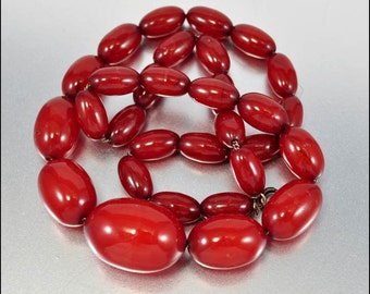 Vintage Art Deco Cherry Amber Necklace Barrel Beads Art Deco Jewelry 35 grams