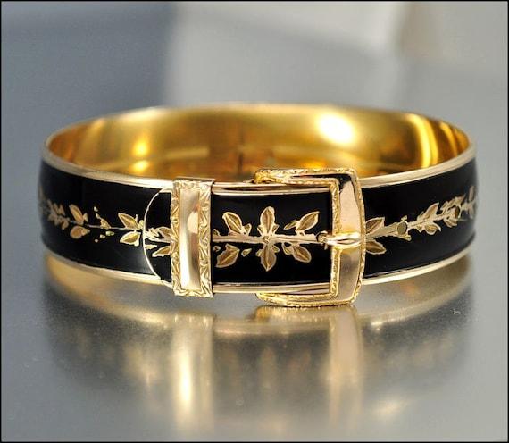Art Deco Bracelet Gold Bangle Enamel Belt Buckle 12K Fill Victorian Rev Vintage 1930s Jewelry