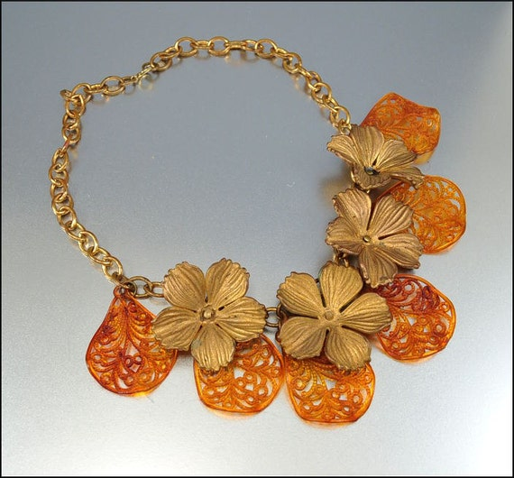 Art Deco Necklace Vintage Jewelry Celluloid Flower Bib Gold Amber Leaf Costume Jewellery