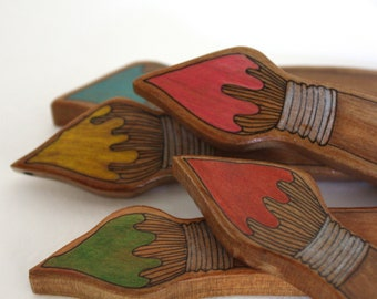 Illustrated Paint Brush Wood Brooch - Repurposed Timber Wood Eco