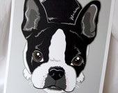 Boston Terrier on Gray - 8x10 Eco-friendly Print