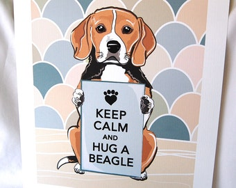 Keep Calm Beagle with Khaki-Gray Scaled Background - 7x9 Eco-friendly Print
