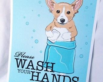 Wash Your Hands Tan Corgi - 8x10 Eco-friendly Print
