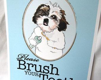 Brush Your Teeth Shih Tzu - 8x10 Eco-friendly Print