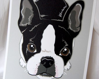 Boston Terrier on Gray - 8x10 Eco-friendly Print