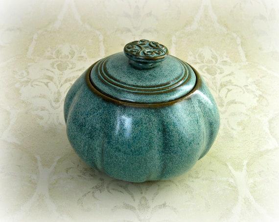 Decorative Lidded Jar in Soft Speckled Aqua