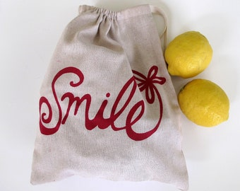 Drawstring Bag, Produce Bag, All Purpose Cotton Bag with Smile Flower - Choose your fabric and ink color