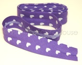 2m Bias tape, purple bias tape, heart bias tape, single fold bias tape, bias binding, purple bias binding, Cute Hearts in Purple