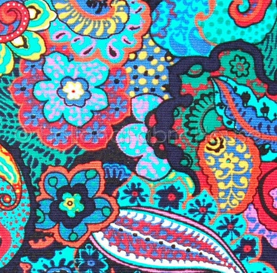 Corduroy cotton fabric, fine whale corduroy, babycord,  floral fabric, flowers fabric, extra wide fabric, fabric by the yard, paisley fabric