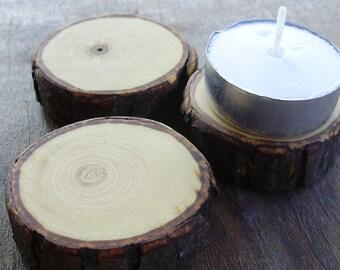 Trio of Hickory tea light display stands