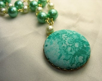 Blooming vine ... fabric-covered button pendant with handmade glass pearl chain