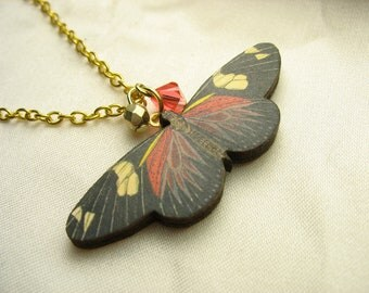Red butterfly necklace ... vintage print wooden butterfly pendant with Swarovski crystal on gold chain ... fluttery and free