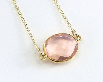 Peach Champagne Quartz  Necklace 14K Gold Filled Solitaire Gemstone  Handmade Minimalistic Fashion Bride Bridal
