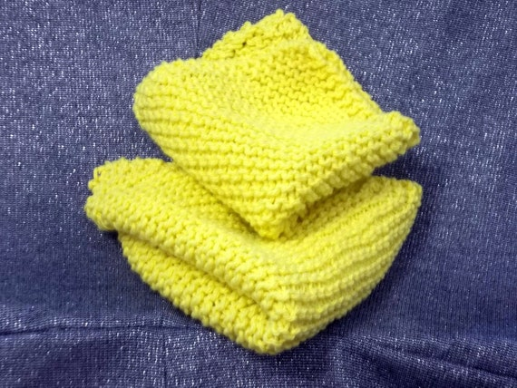 Knitted Cotton Dish Scrub Cloths, Sunflower Yellow Colors