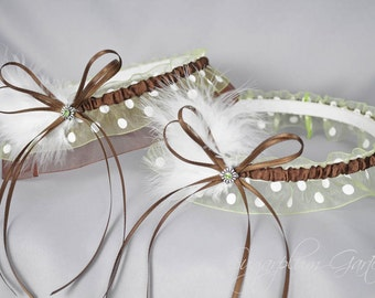 Wedding Garter Set in Chocolate and Apple Green Polka Dot with Green Swarovski Crystals and Marabou Feathers
