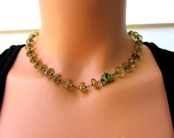 Whiskey Quartz, Peridot, Smokey Quartz, Citrine Sterling Silver necklace, Choker Necklace, Beaded Necklace