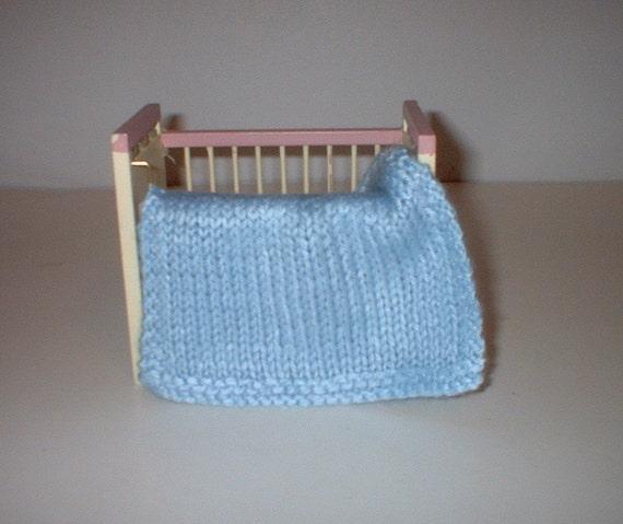Hand Knit Miniature dollhouse baby doll blanket blue