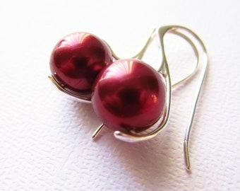 Crimson Tahitian Pearl Earrings South Sea Sterling Silver 925, Wine Red, Silver Earrings, Red Pearls