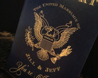 Passport Wedding Invitation. Destination Wedding Invitation. DEPOSIT: Traditional US Design