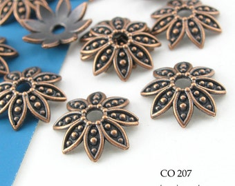 Large Copper Bead Cap Flower Bead Cap Antiqued Copper Bead Cap 14mm (CO 207) 20 pcs
