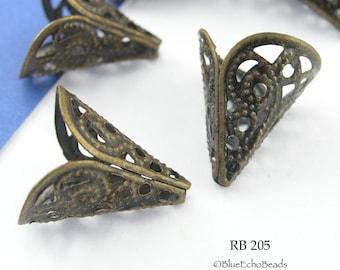 18mm Lacy Trumpet Bead Cone, Filigree Bead Cap, Antiqued Brass Bronze Bead Cap (RB 205) 6 pcs BlueEchoBeads