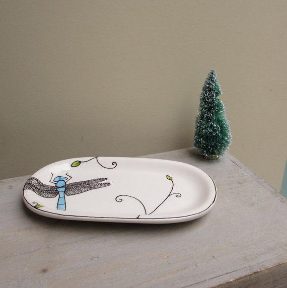Blue dragonfly tray, ceramic insect soap dish, woodland fall home decor plate