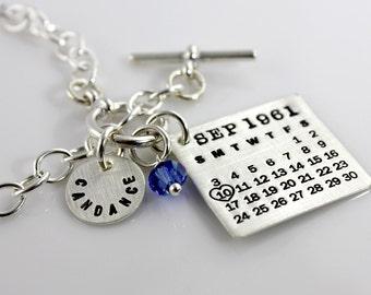 Toggle Bracelet - Mark Your Calendar Toggle Bracelet with Name Charm - personalized sterling silver bracelet