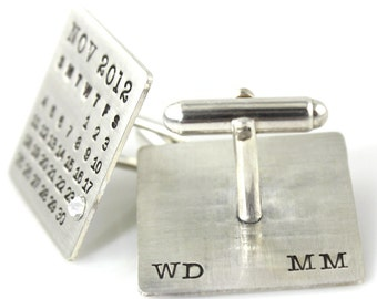 Cuff Links - Mark Your Calendar Cuff Links - personalized solid sterling silver with initials and crystal or pearl