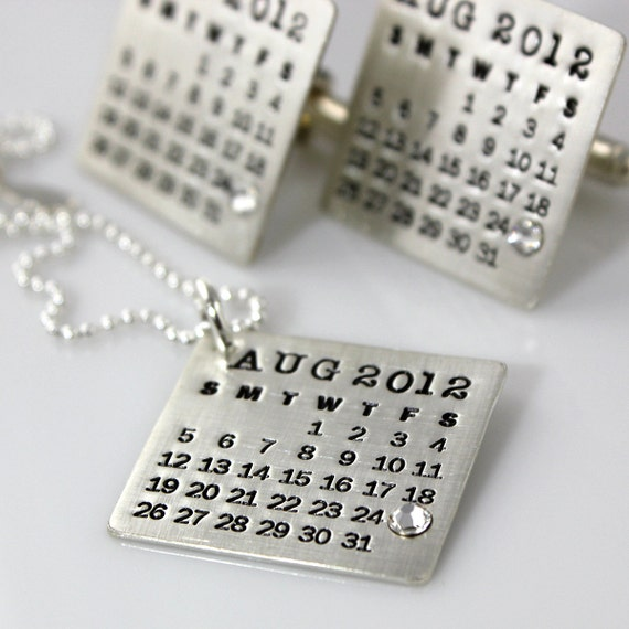 Cuff Links and Necklace Set, hand stamped and personalized - Mark Your Calendar Cuff Links and Necklace personalized sterling silver