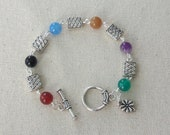 Celtic Gemstone Bead Bracelet w/ Shamrock Charm
