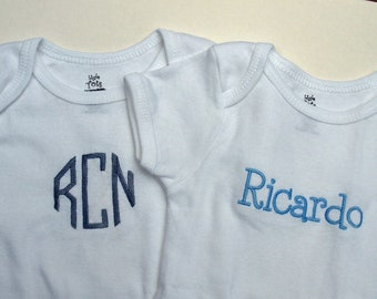 Boutique Custom Monogrammed Personalized Name short Sleeved Onesie