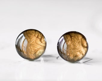 Ancient Bronze Resin Stud Earrings - Metallic Caramel Brown Shimmer Post Earrings