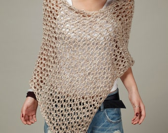 Hand knit Little cotton poncho in Wheat