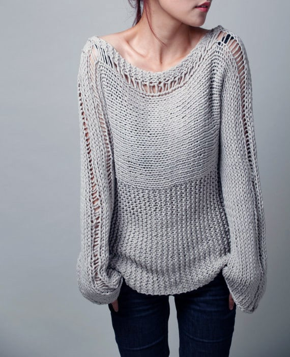 Knitting Sweaters For Girls : Hand knit woman sweater eco cotton light grey ready