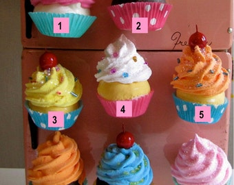 Fake Cupcake Swirly Twirly Magnets Your Choice of Two Mini Cupcake Magnets Great for Fridge, Office, Bakery, Little Girls Room, Etc