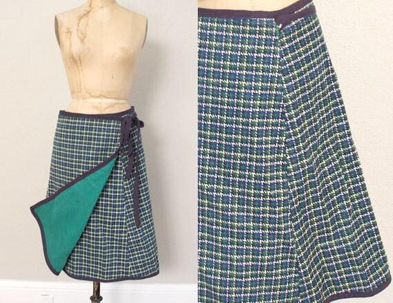 SALE Vintage Wrap Skirt // 1970s Plaid Skirt // Mid Century Wrap Skirt // Blue Green Reversable Skirt