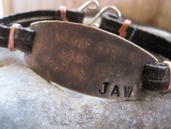 Mens Personalized Bracelet-CUSTOM Stamped Message - Rustic and Rugged Leather Copper  Silver