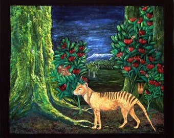 """Tasmanian Tiger """"Remembering Thylacines"""" By Cindy Watkins Photographic print on card. Blank Gift Card."""