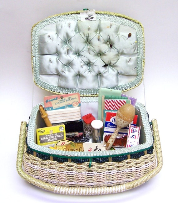 Large Vintage JC Penneys Sewing Basket Box Filled with Notions, Supplies, Sock Darner and Much More