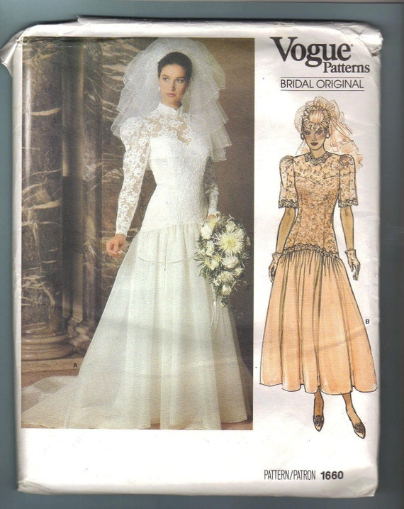 SALE Vogue 1660 Bridal Original Wedding Dress Gown 1980s Sewing Pattern Size 8 Bust 31 UNCUT